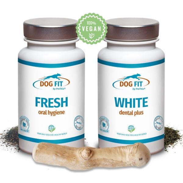 Dental Care Set für Hunde - DOG FIT by PreThis® WHITE dental & FRESH plus Kaustick aus dem Holz des Kaffeebaums